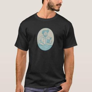 Gentleman Beer Drinker Tankard Oval Drawing T-Shirt