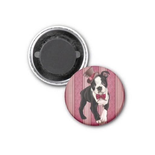 Gentleman Boston Terrier 1 Inch Round Magnet