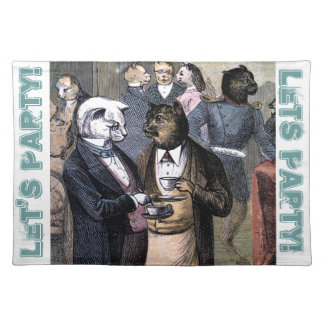 Gentleman Cats at Miss Pussy Cat's Tea Party. Cloth Placemat