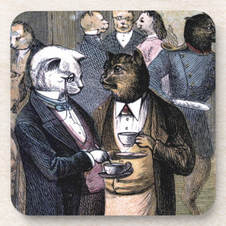 Gentleman Cats at Miss Pussy Cat's Tea Party. Drink Coaster