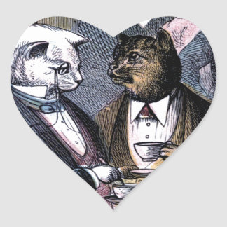 Gentleman Cats at Miss Pussy Cat's Tea Party. Heart Sticker