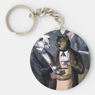Gentleman Cats at Miss Pussy Cat's Tea Party. Basic Round Button Keychain