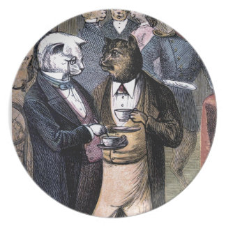 Gentleman Cats at Miss Pussy Cat's Tea Party. Melamine Plate