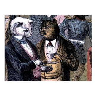 Gentleman Cats at Miss Pussy Cat's Tea Party. Postcard