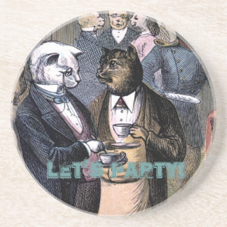 Gentleman Cats at Miss Pussy Cat's Tea Party. Sandstone Coaster