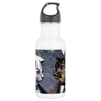 Gentleman Cats at Miss Pussy Cat's Tea Party. Stainless Steel Water Bottle