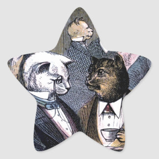 Gentleman Cats at Miss Pussy Cat's Tea Party. Stickers