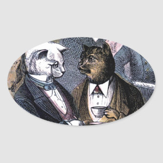 Gentleman Cats at Miss Pussy Cat's Tea Party. Oval Stickers