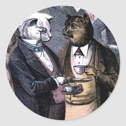 Gentleman Cats at Miss Pussy Cat's Tea Party. Round Stickers