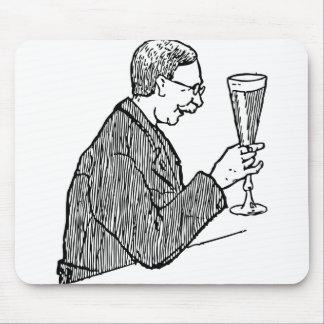 Gentleman Drinking Beer Vintage Illustration Mouse Pad