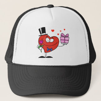 Gentleman Heart Holding A Single Rose And Present Trucker Hat