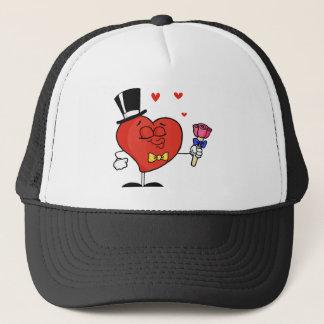 Gentleman Heart Holding Roses Trucker Hat