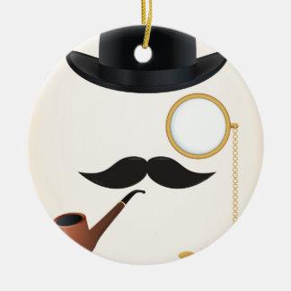 Gentleman Moustache Must-Dash Monacle & Bowler Hat Ceramic Ornament