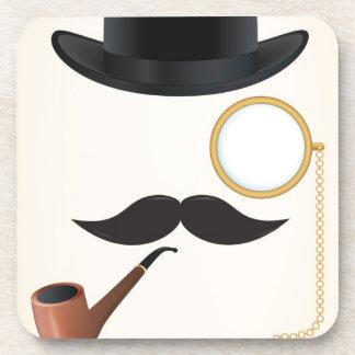 Gentleman Moustache Must-Dash Monacle & Bowler Hat Drink Coaster