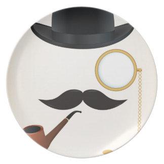 Gentleman Moustache Must-Dash Monacle & Bowler Hat Melamine Plate