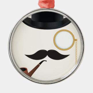 Gentleman Moustache Must-Dash Monacle & Bowler Hat Metal Ornament