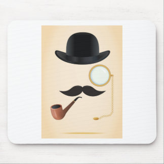 Gentleman Moustache Must-Dash Monacle & Bowler Hat Mouse Pad