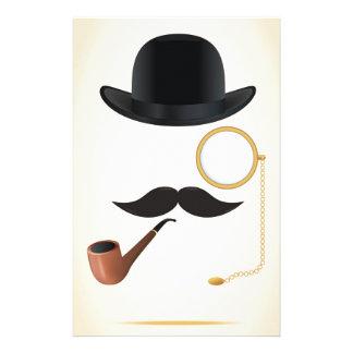 Gentleman Moustache Must-Dash Monacle & Bowler Hat Stationery