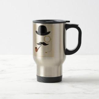 Gentleman Moustache Must-Dash Monacle & Bowler Hat Travel Mug
