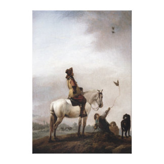 Gentleman on a Horse Watching a Falconer Canvas Print