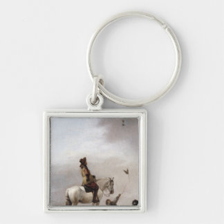 Gentleman on a Horse Watching a Falconer Keychain