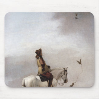 Gentleman on a Horse Watching a Falconer Mouse Pad