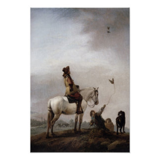 Gentleman on a Horse Watching a Falconer Poster