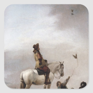 Gentleman on a Horse Watching a Falconer Square Sticker