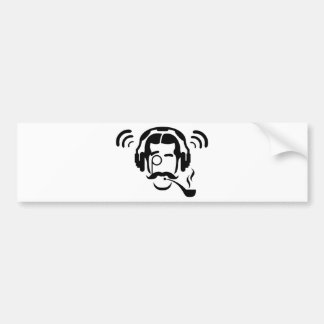 Gentleman Pipe and Phones Bumper Sticker