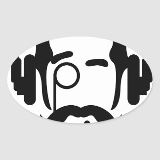 Gentleman Pipe and Phones Oval Sticker