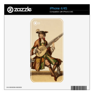 Gentleman Playing the Angelica, fashion plate, c.1 iPhone 4S Decal