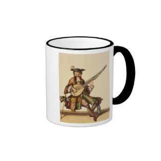 Gentleman Playing the Angelica, fashion plate, c.1 Ringer Coffee Mug