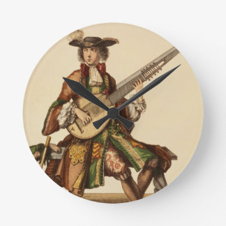 Gentleman Playing the Angelica, fashion plate, c.1 Round Clock