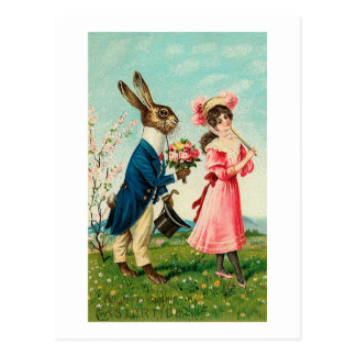 Gentleman Rabbit Courting Lady at Easter Post Card