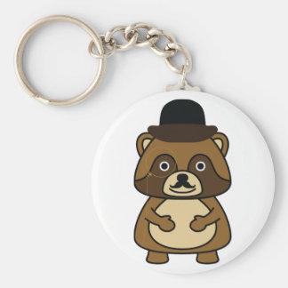 Gentleman Racoon Basic Round Button Keychain