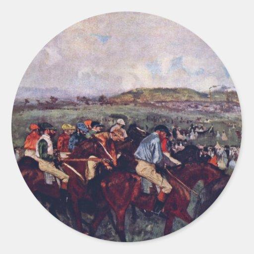 Gentleman Rider Before The Start By Edgar Degas Classic Round Sticker