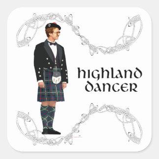 Gentleman Scottish Highland Dancer Square Stickers
