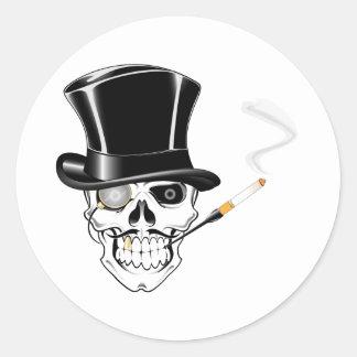 Gentleman Skull Classic Round Sticker