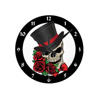 Gentleman Skull Round Clock