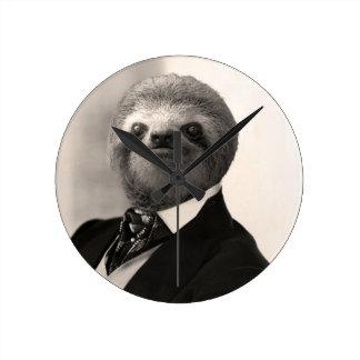 Gentleman Sloth #4 Round Clock