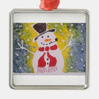 Gentleman snowman metal ornament