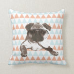 Gentleman Style Pug Colorful Triangle Pattern Pillow