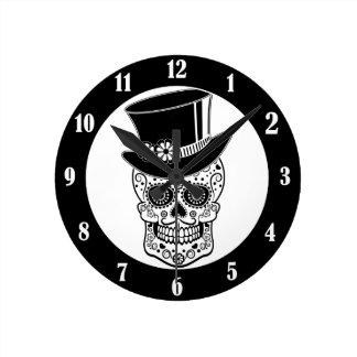 Gentleman Sugar Skull-01 Round Clock