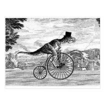 Gentleman T-Rex's Sunday Ride Postcard
