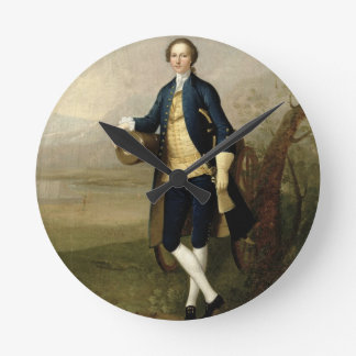 Gentleman with a Cannon, 1741 (oil on canvas) Round Clock