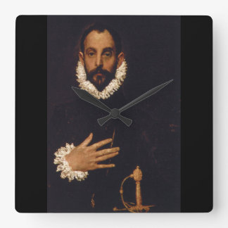 Gentleman with his Hand on his_Portraits Square Wall Clock