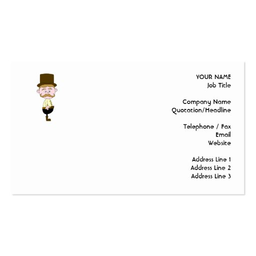 Gentleman with Mustache and Top Hat. Double-Sided Standard Business Cards (Pack Of 100)