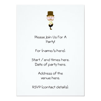 Gentleman with Mustache and Top Hat. 6.5x8.75 Paper Invitation Card