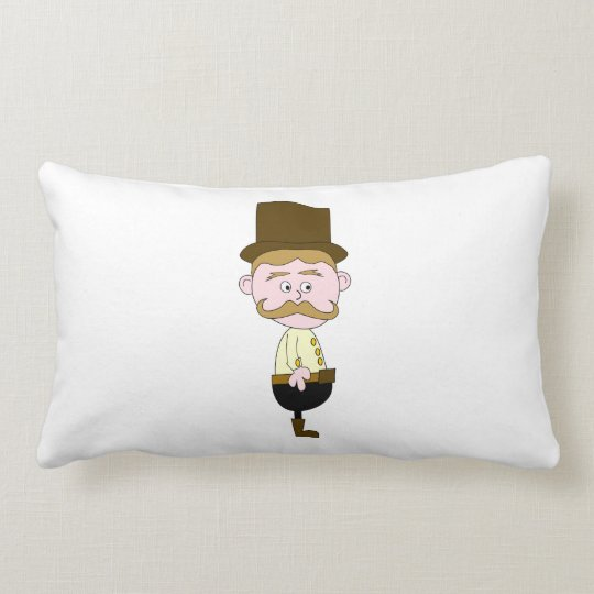 Gentleman with Mustache and Top Hat. Lumbar Pillow
