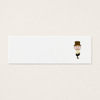 Gentleman with Mustache and Top Hat. Mini Business Card
